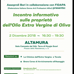 Avvicinamento alle proprietà dell'olio extra vergine di oliva – 02 Dicembre 2018
